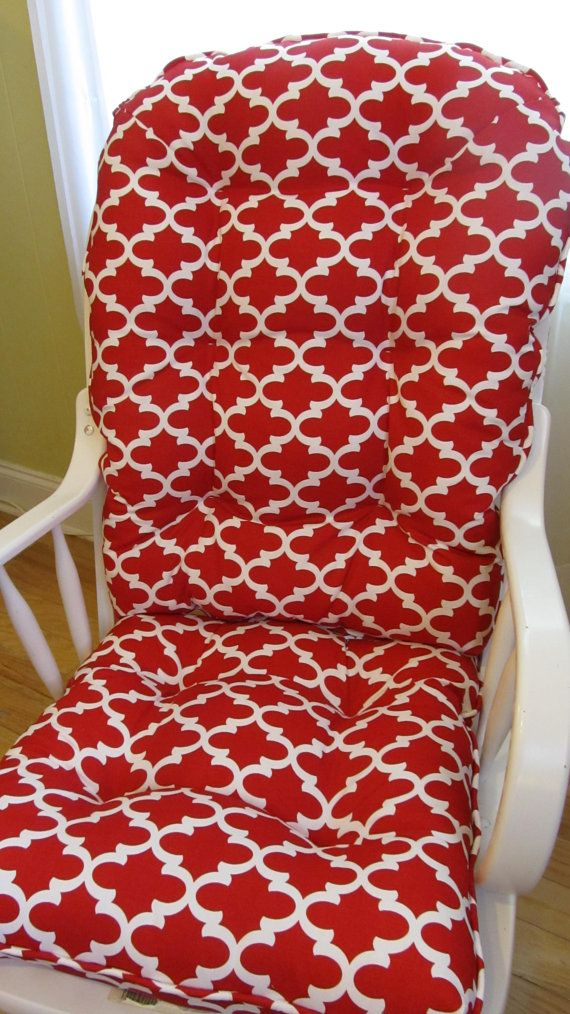 Custom Glider or Rocking Chair Cushion Set in Red and White