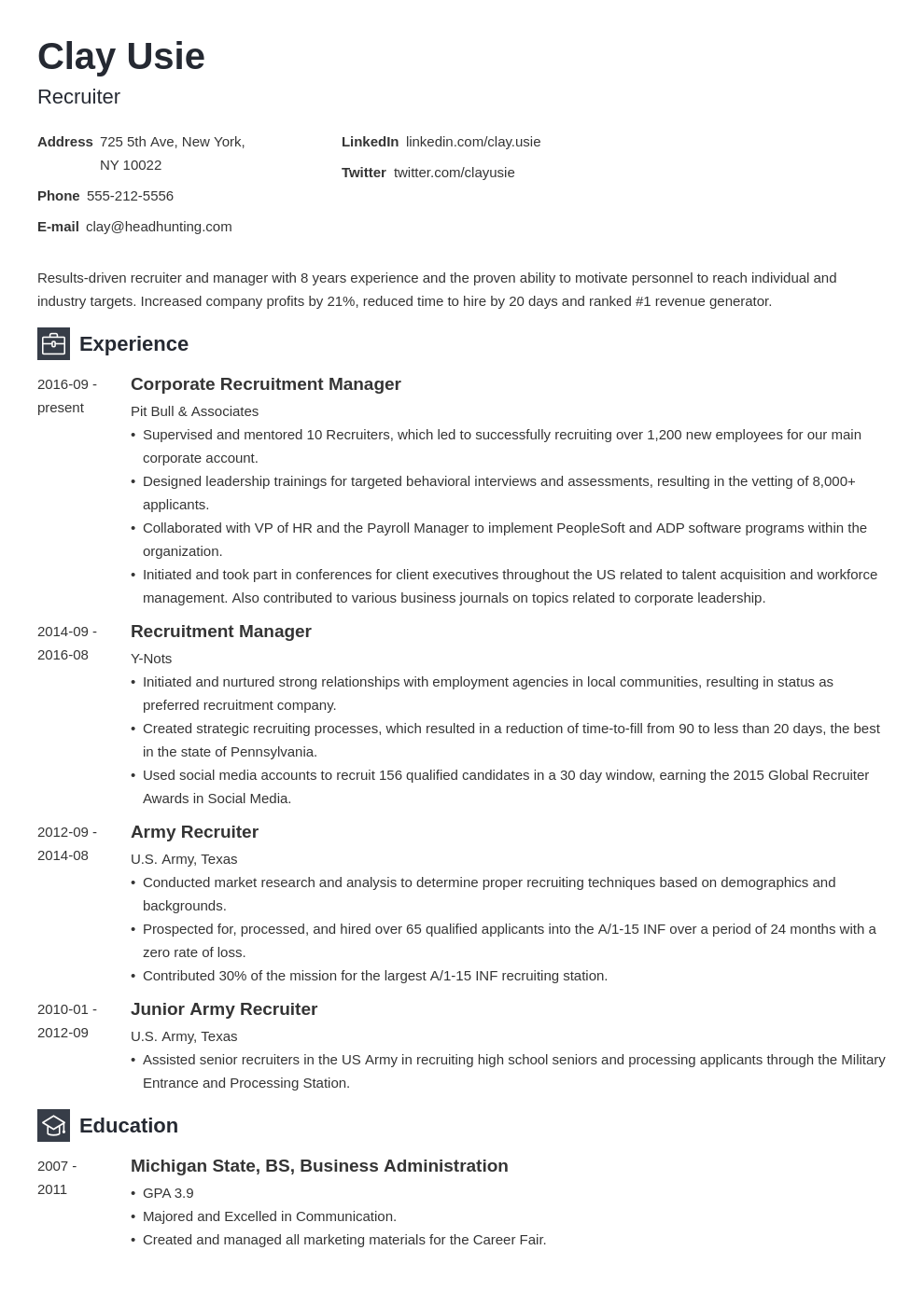 recruiter resume example template newcast in 2020