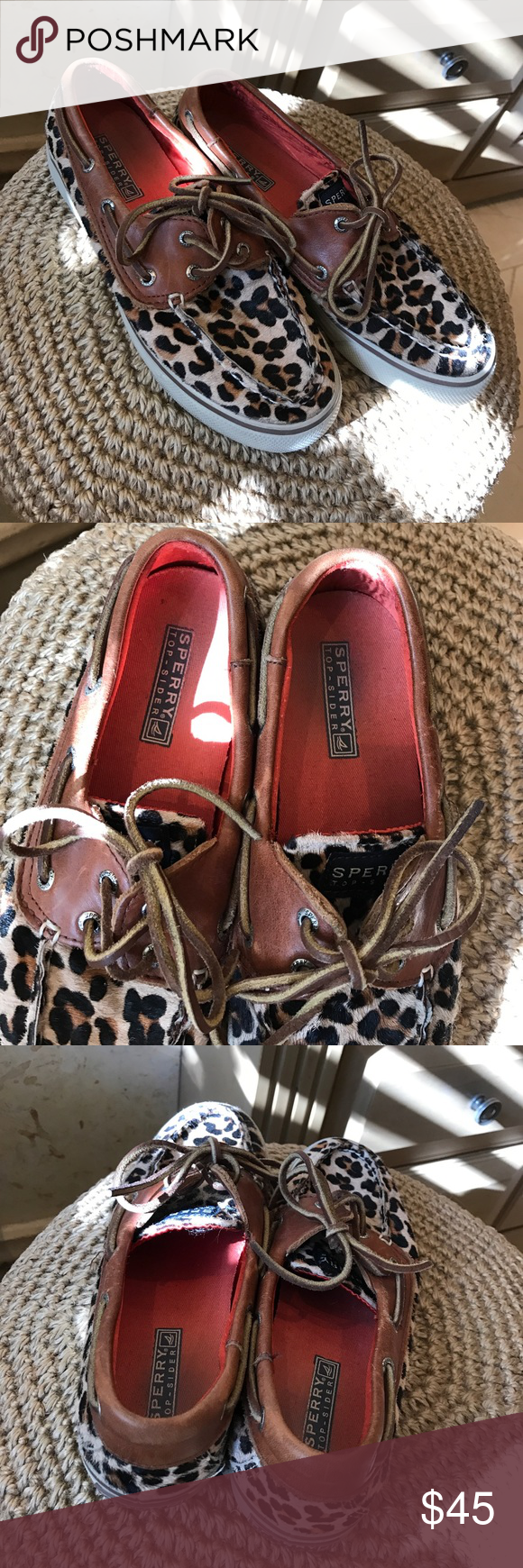 🦋LEOPARD SPERRYS🦋 Leopard print adorable Sperry boat shoes!! MAKE AN OFFER!! Will not negotiate price in the comments, but please ask any and all questions and I will answer the best I can!! Orange/poppyseed colored liner. Very well-loved. No trades. 🦋 Sperry Shoes Flats & Loafers