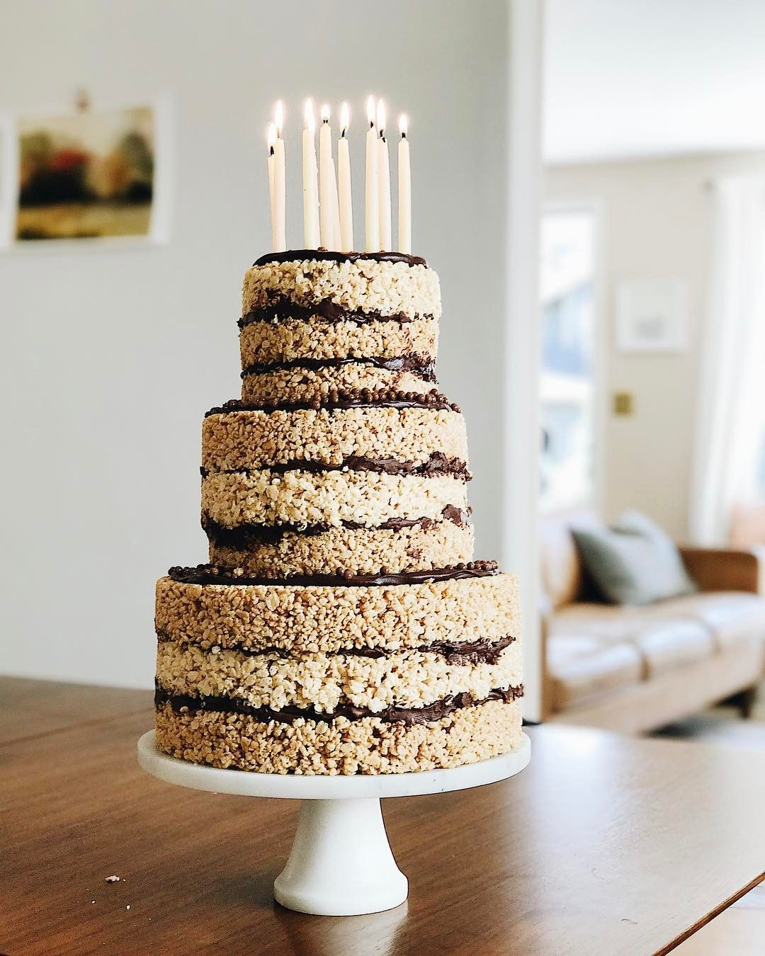 Peanut Butter Chocolate Rice Krispie Cake With Images Rice