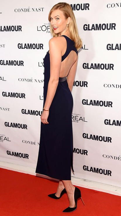 Karlie Kloss in a backless black dress at Glamour Women of the Year