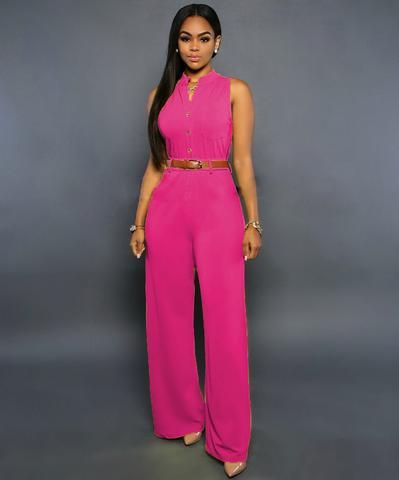 Sleeveless Elegant Jumpsuit Overall 2016 Plus Size Solid Jumpsuits and Rompers for Women(No Belt) - LA Fashion District LLC - 4