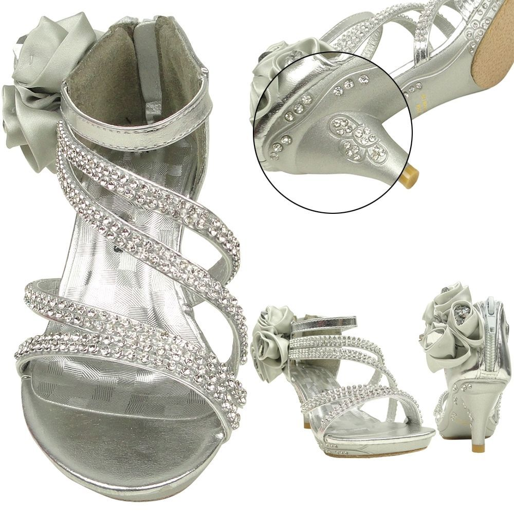Girls Evening High Heel Dress Sandals w/ Asymmetrical Strap Side Flower Silver #Sandals
