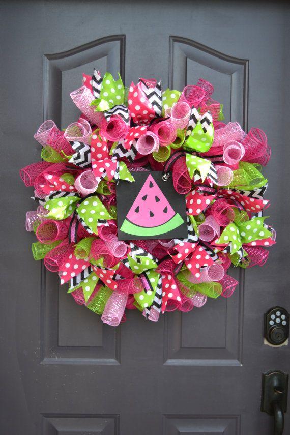 Photo of Items similar to Watermelon Mesh Ribbon Wreath on Etsy