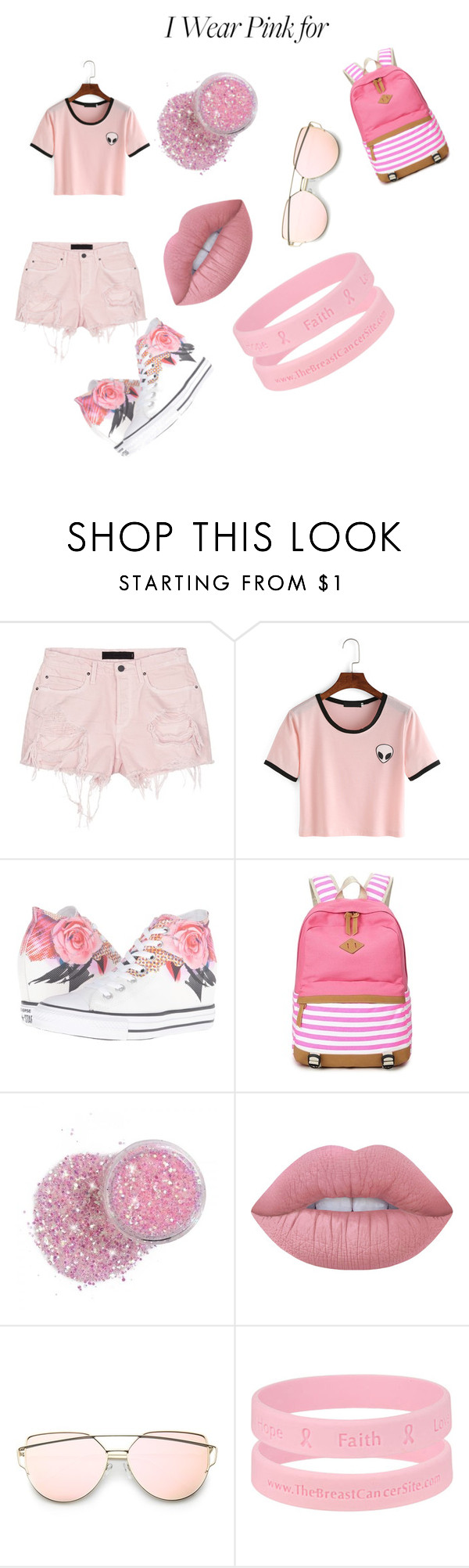 """""""I WEAR PINK FOR MY BFF"""" by itsmejustme-1 ❤ liked on Polyvore featuring Alexander Wang, Converse, Lime Crime and IWearPinkFor"""