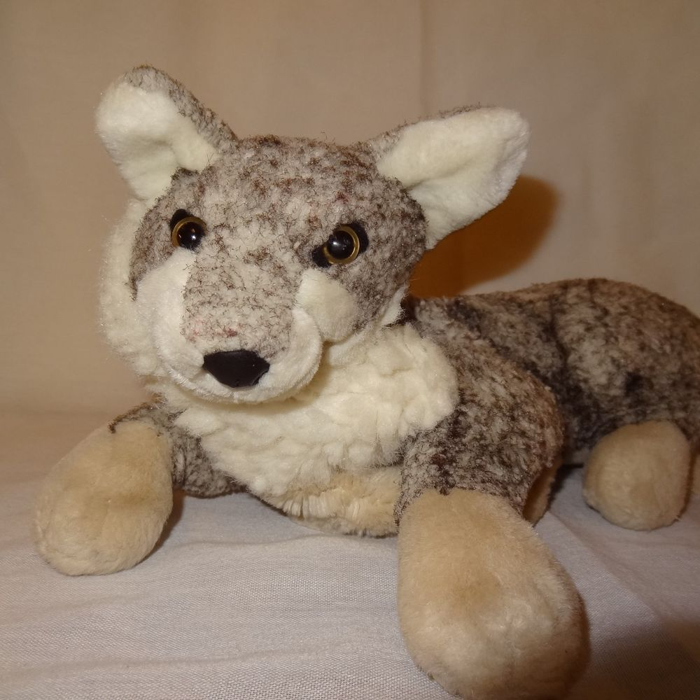 Gray Fox Plush Hand Puppet 13 Long Stuffed Animal Toy Cute Plush