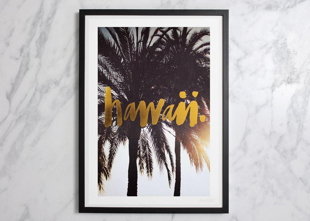 Hawaii Gold Foil Print (Large)   Blacklist Studio   Fun Art   Pinterest