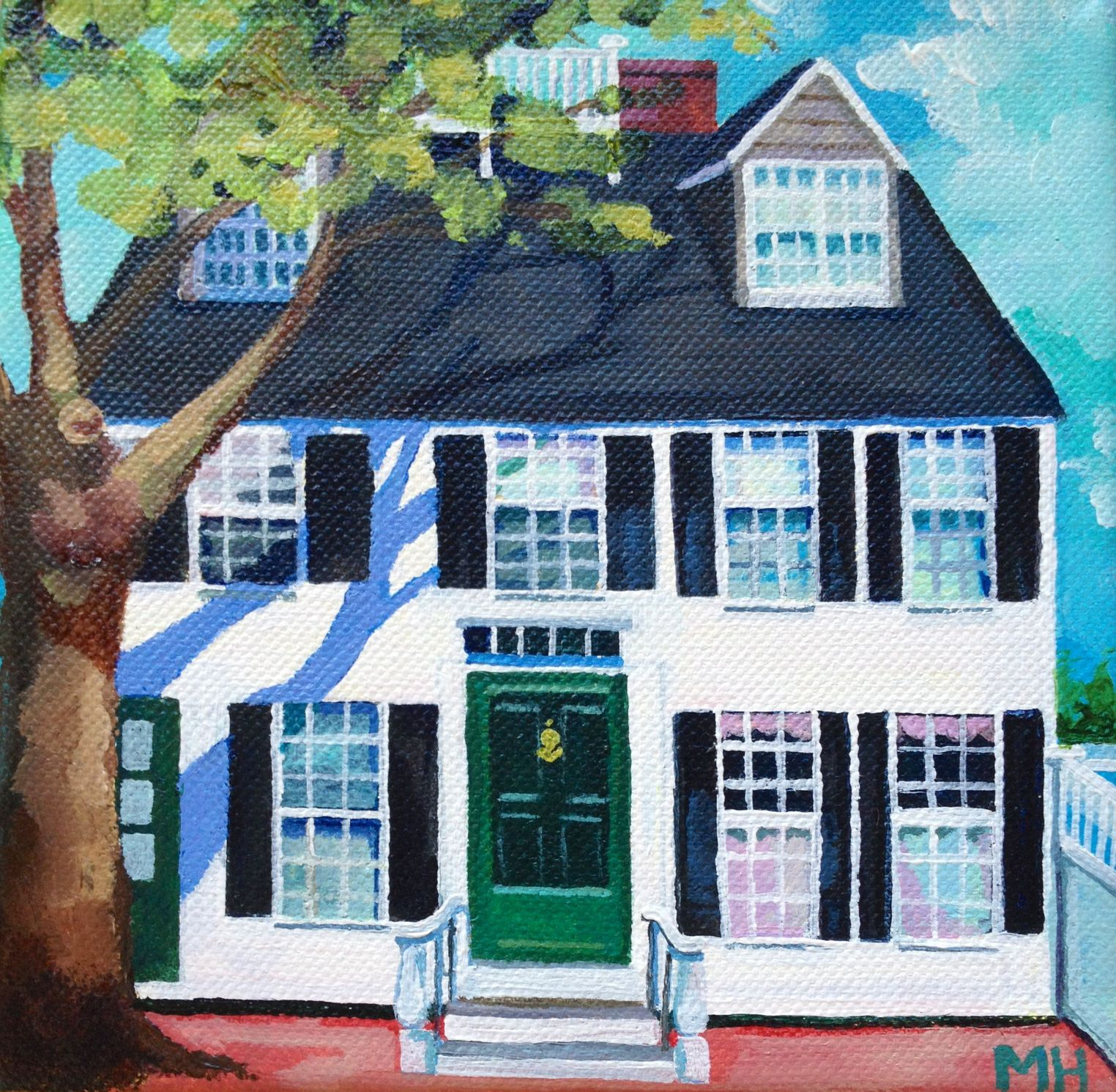 Acrylic Painting Of House On Orange Street Nantucket 6x6 By Meredith Hanson