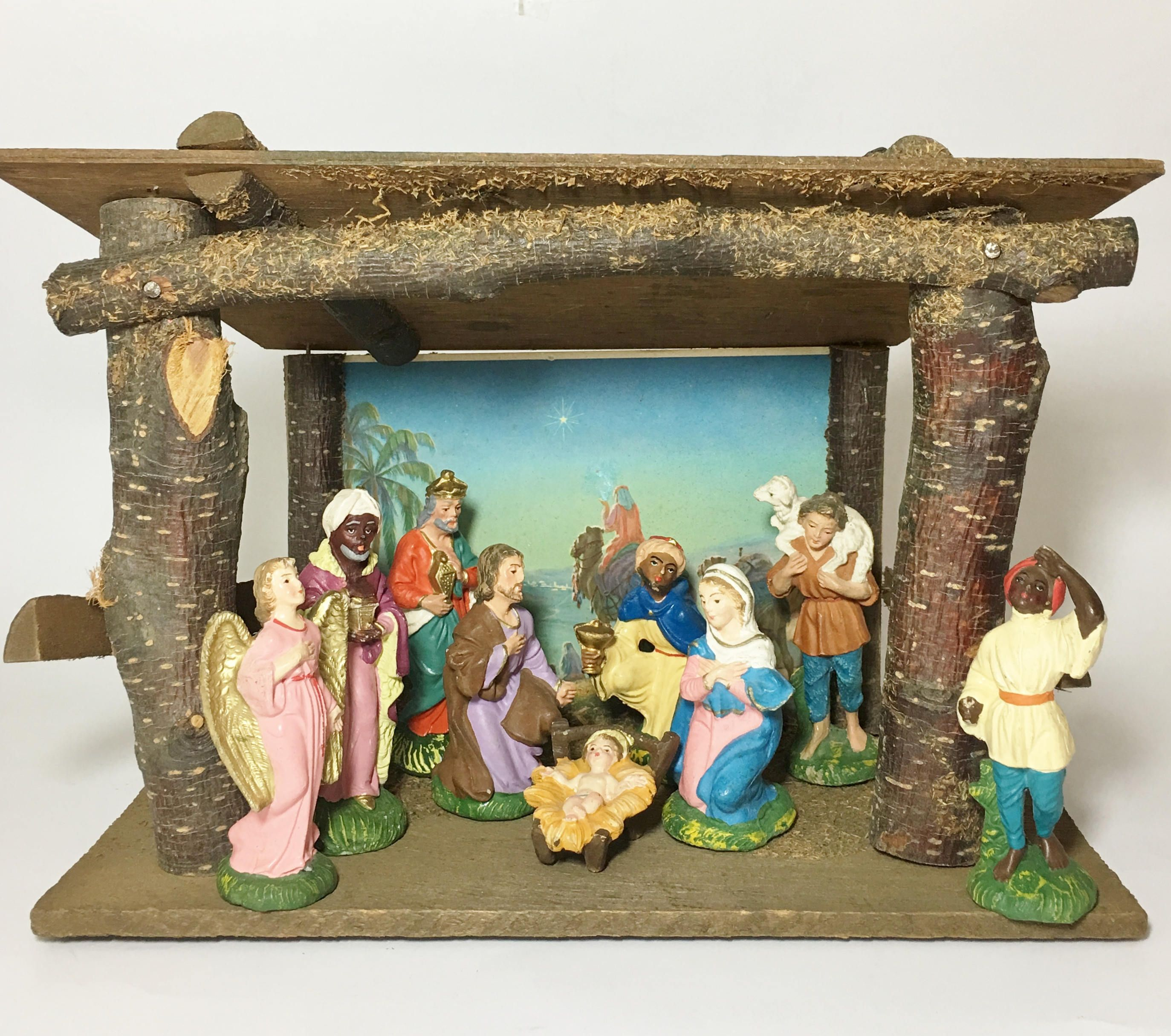 Vintage Wood Nativity Stable Creche Manger With Nine Figurines Christmas
