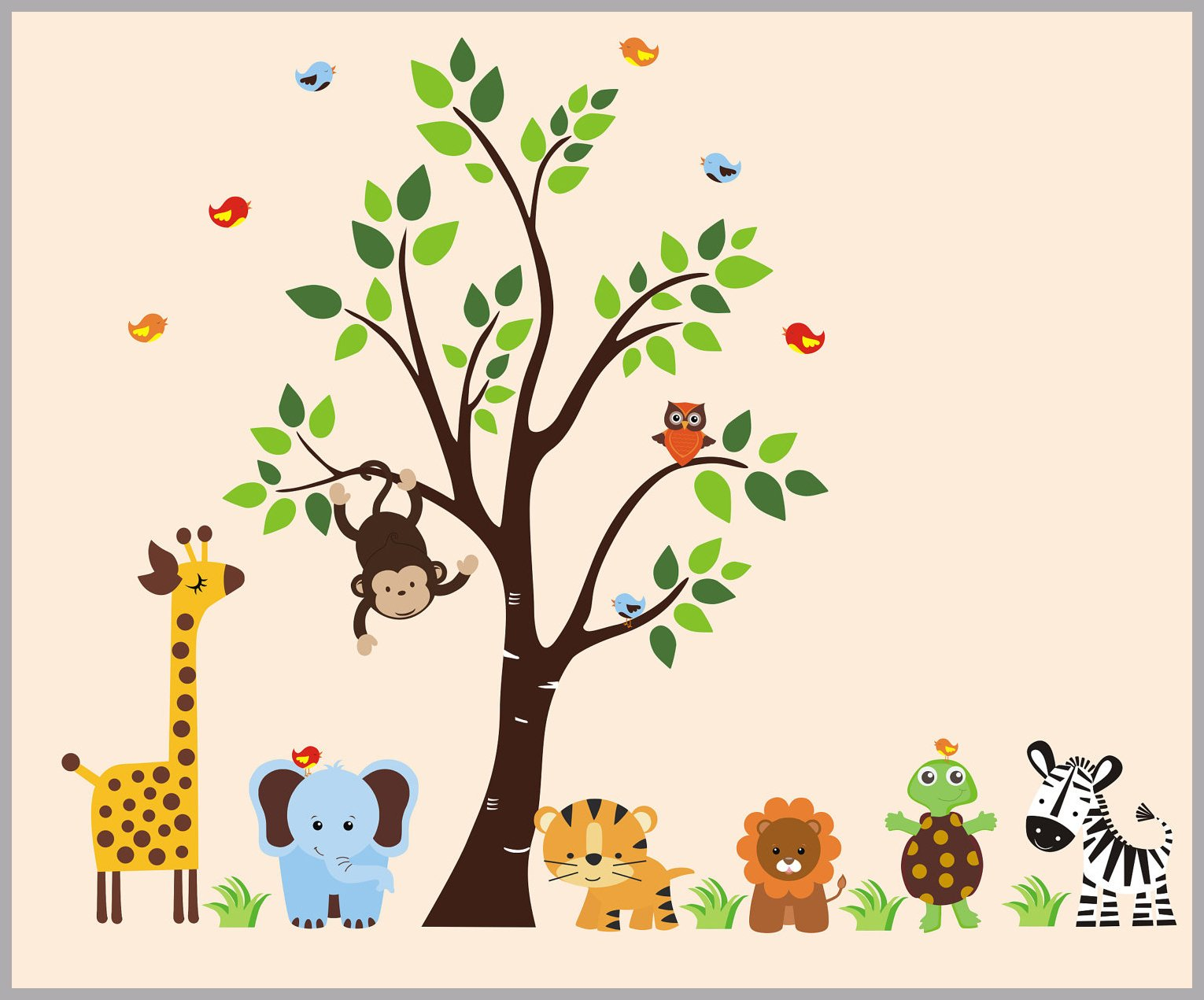 Animal Wall Art   Nursery Wall Decals   Baby Wall Stickers   Jungle Wall  Sticker