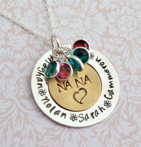 Sale nana pendant with birthstones family necklace hand stamped sale nana pendant with birthstones family necklace hand stamped personalized mothers day necklace for mom aloadofball Images
