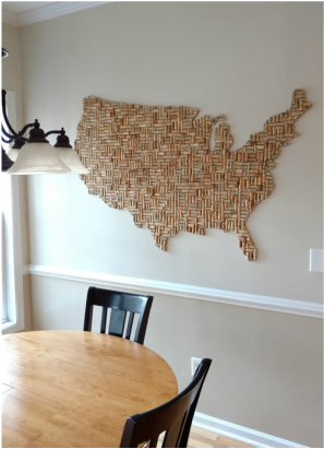 Wine Corks Reused USA shaped wine cork wall art approx 5x3