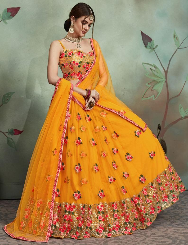 Bridal/Wedding Engagement Lehenga in Orange with S