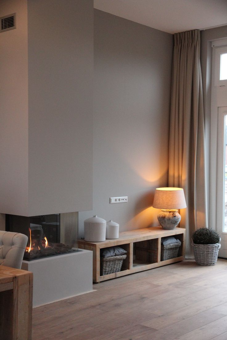 Woonkamer - Haard huis | Pinterest - Muur, Haard en Interieur
