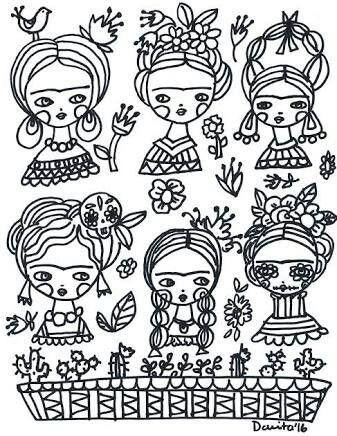 Frida Kahlo muñecas para colorear | characters en 2018 | Pinterest ...