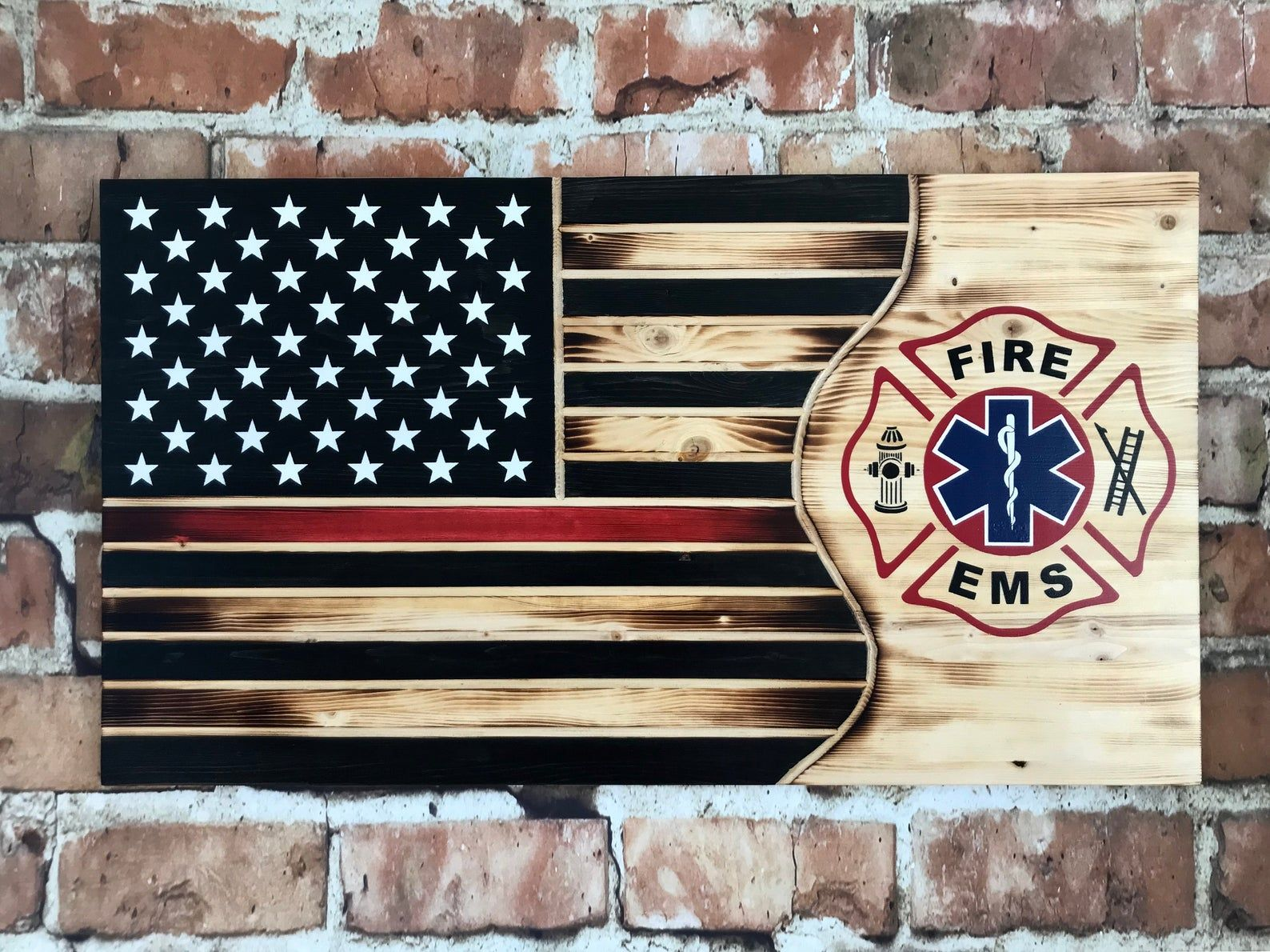 firefighter/paramedic flag | wood flag | home decor| custom | firefighter gift |