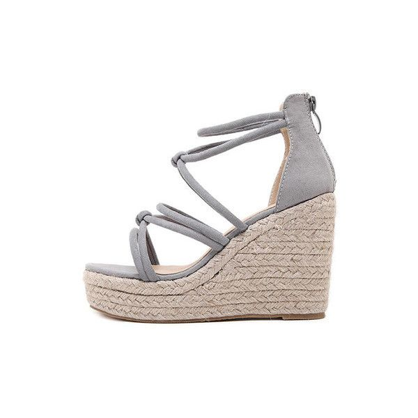 Gray Open Toe High Platform Strappy Wedge Sandals Strappy Sandals Wedge Grey Wedge Shoes Wedge Sandals