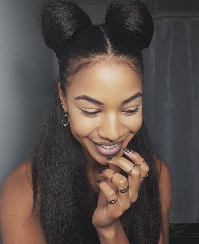 Natural hair, hairstyles, buns, half up hairstyles, African ...