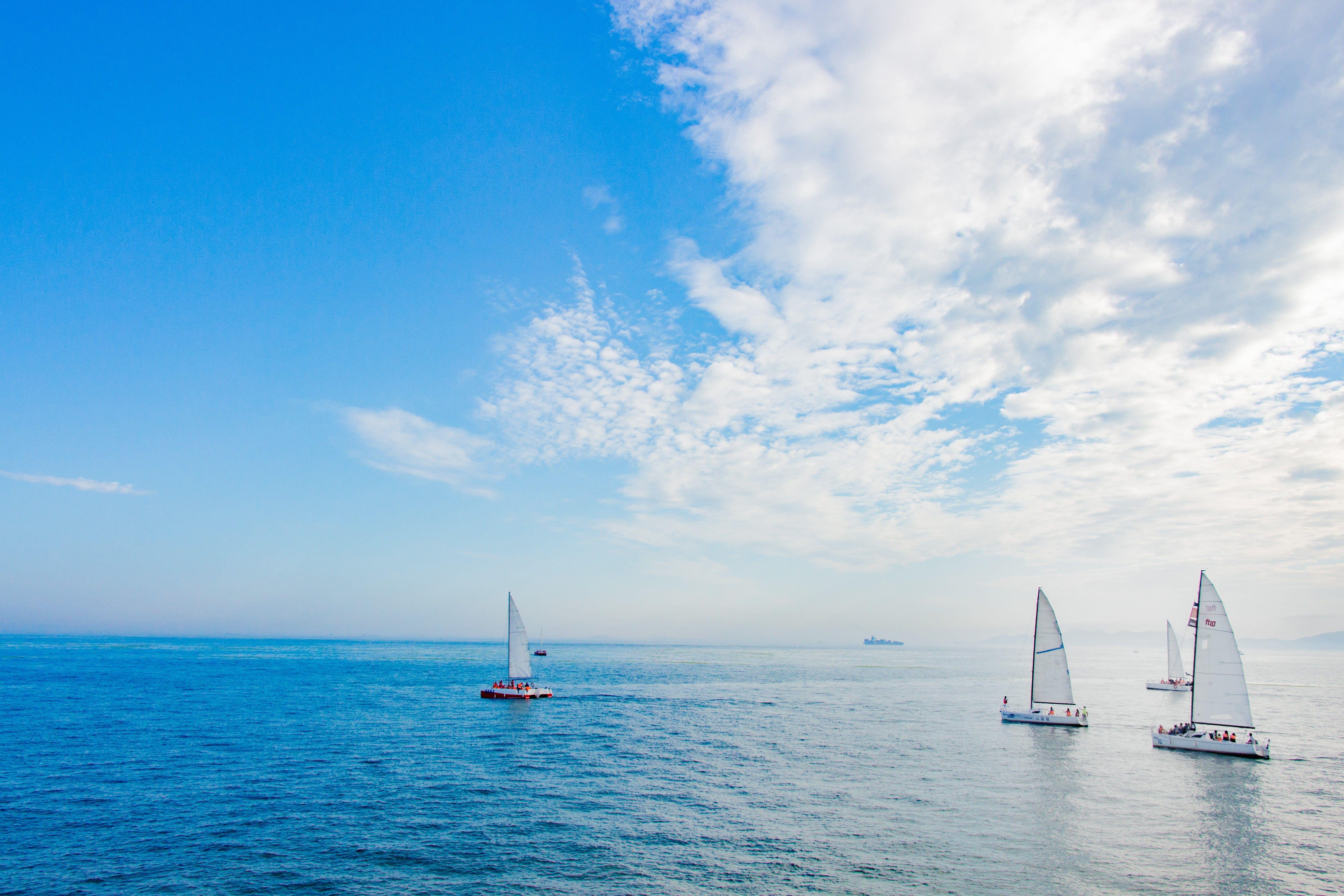 Four White Sailboats Sea Sailing Ship Sky Water 5k Wallpaper Hdwallpaper Desktop Sailing Ships Sailing Sky
