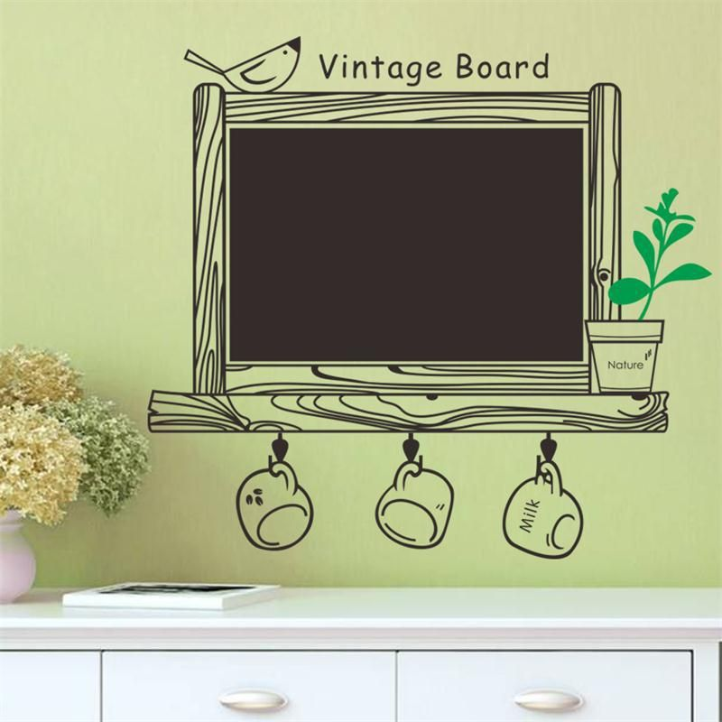 lovely factory price Cups Nature Bird kitchen chalkboard decal ...