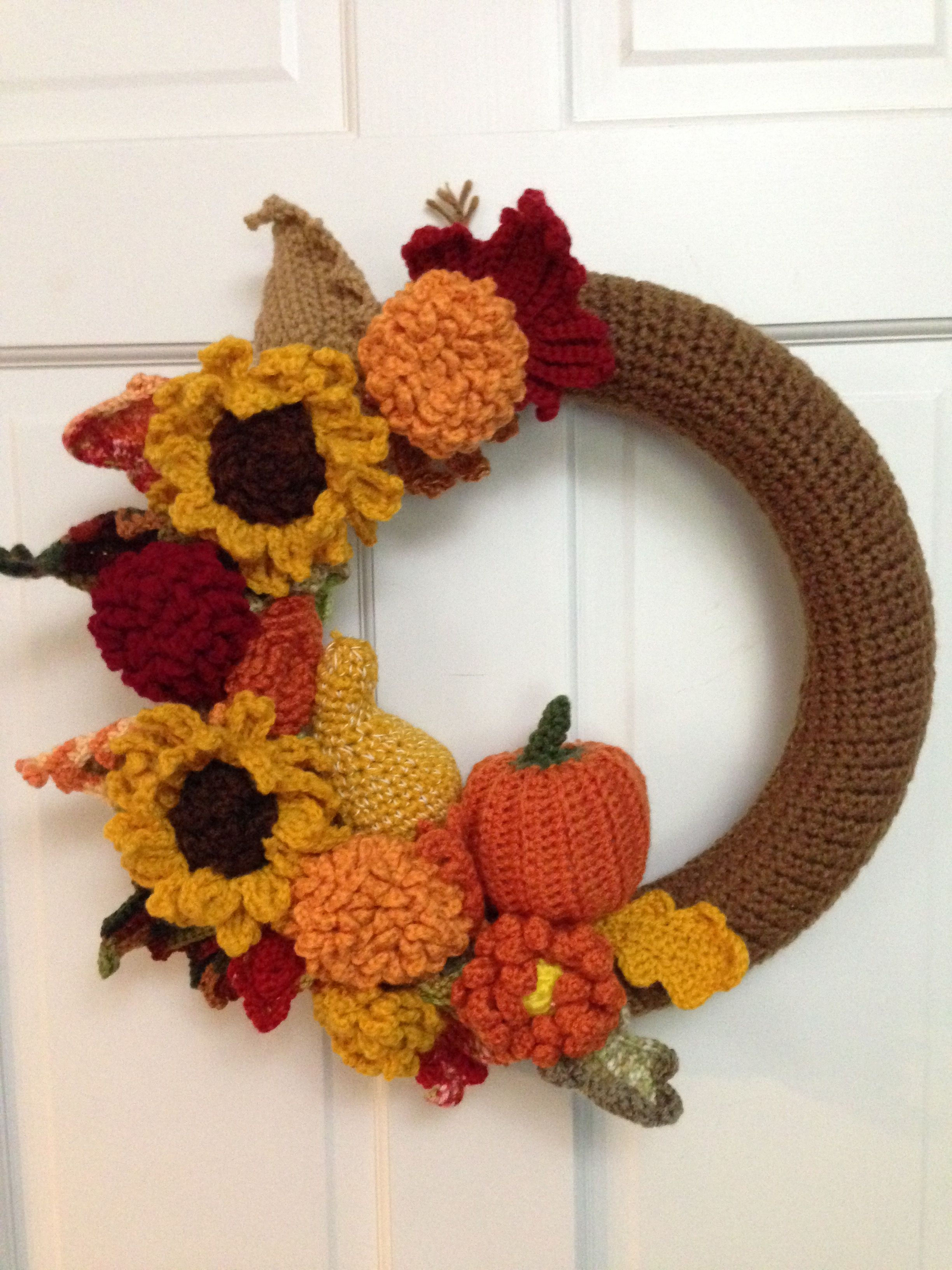 Fall wreath made from various crochet patterns