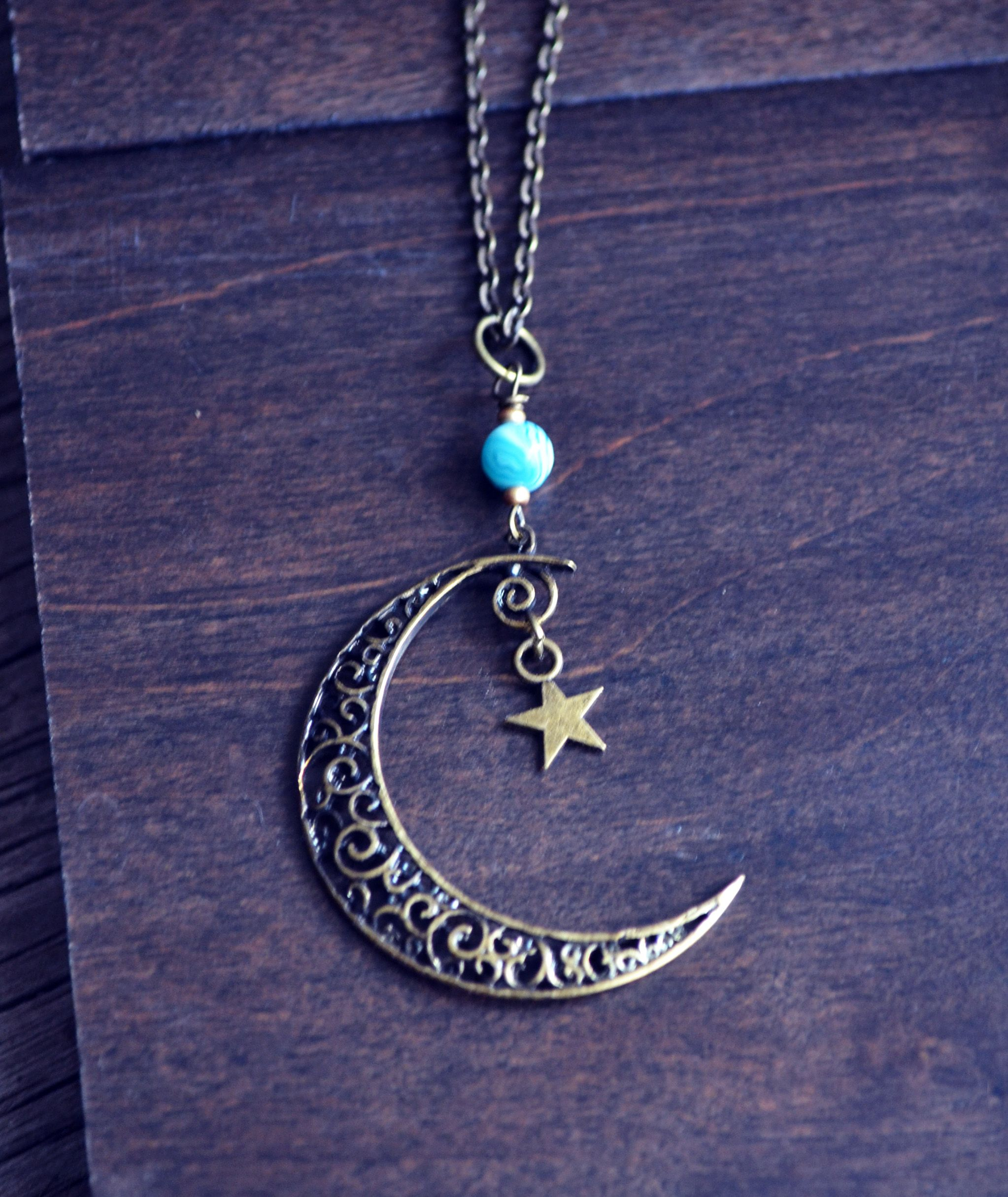 forest pin crescent necklace fauna star and moon mystical from half pendant