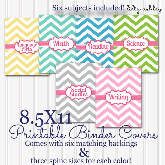 Printable Binder Covers SET 6 Subjects! 8.5x11 JPG (not