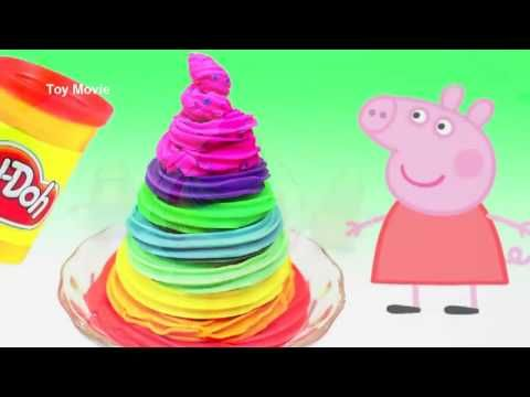 Play Doh make Mickey mouse Ice cream yummy along with peppa pig  Happy c...