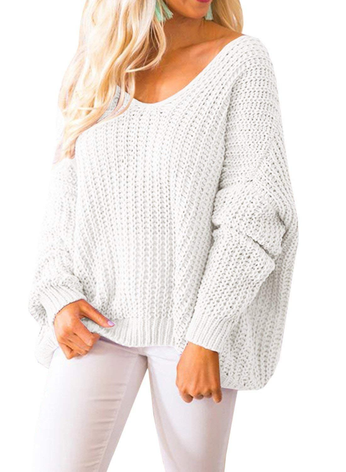d128a735c7fc8c Nutashafeel Womens Off Shoulder Sweaters Long Sleeve Oversized Knitted  Pullovers Tops at Amazon Women's Clothing store: