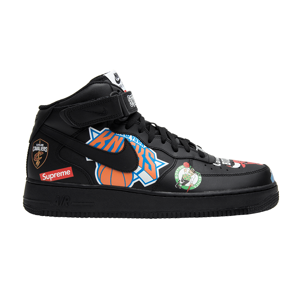 Supreme x NBA x Air Force 1 Mid 07 'Black' (With images