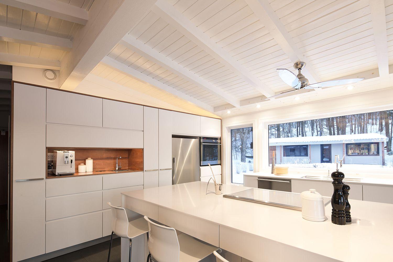 coffee space, coin à café, cuisine blanche, grand îlot, kitchen