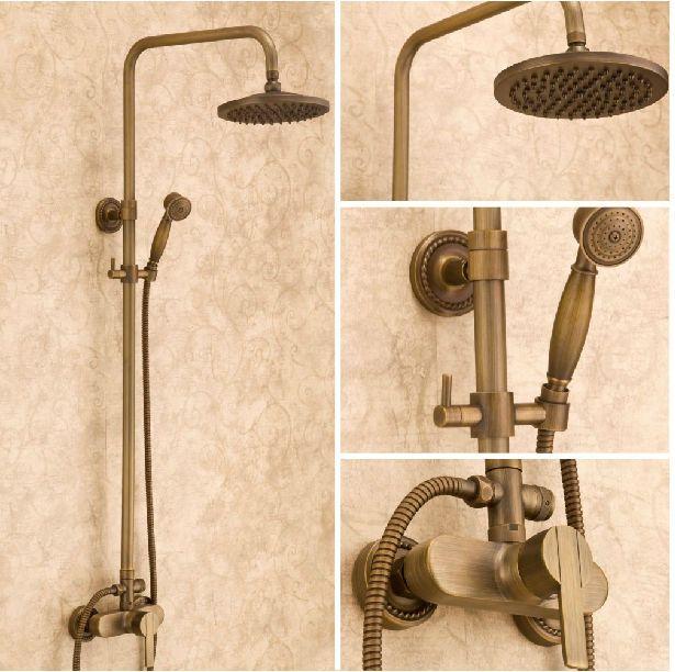 Antique Brass Bathroom Rain Shower Faucet Tap Set 8 Shower Head Hand Spray Shower Faucet Sets Shower Faucet Shower Heads