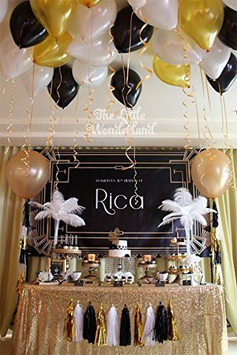 Amazon Black Gold White Party DecorationsTissue Paper Pom Tassel Garland For Great Gatsby Decorations 30th 50th 60th 80th Birthday