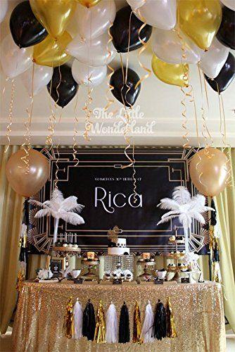 Amazon Com Black Gold White Party Decorationstissue Paper Pom Pom
