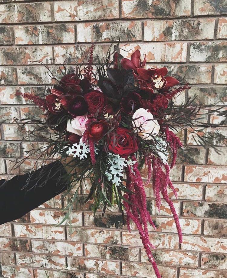 Dynamic Burgundy Bridal Bouquet | Moore Flowers Wichita