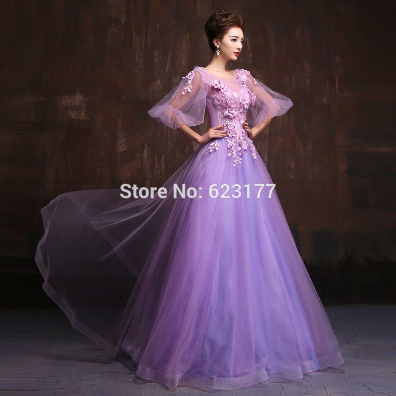 New Formal Dress 2016 Cute Purple Chiffon Ball Gown Half Sleeve Flower O Neck