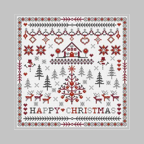 RIVERDRIFT SNOWY CROSS STITCH KIT HAPPY CHRISTMAS