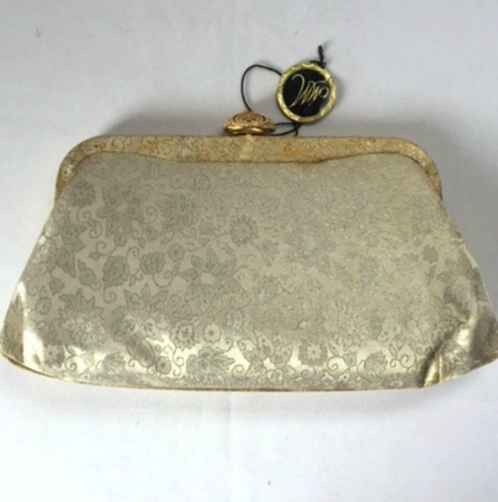 Morris Moskowitz MM Brocade Clutch Purse Rhinestone Clasp Beige Handbag Vintage #MorrisMoskowitz #Clutch