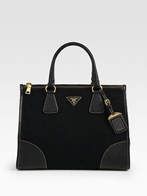 62885986d1c8 Prada Saffiano Leather & Canvas Top Handle Bag | Hand Bags