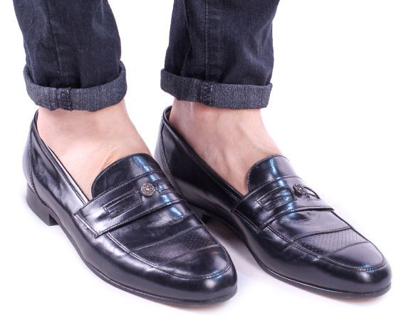 a4ab032da3bbe Black Loafers for Men 80s Mens Slip On Flats Leather 80s Shoes Retro ...