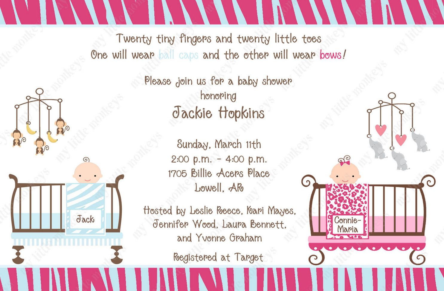 twin baby shower invitations boy and girl | DIY and crafts ...