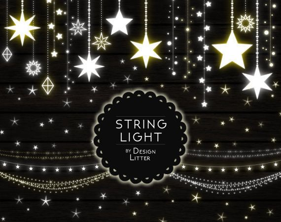 Lights Clipart Strings Clip Art PNG Fairy Christmas Wedding Party Digital Light Stars Instant Download By DesignLitter