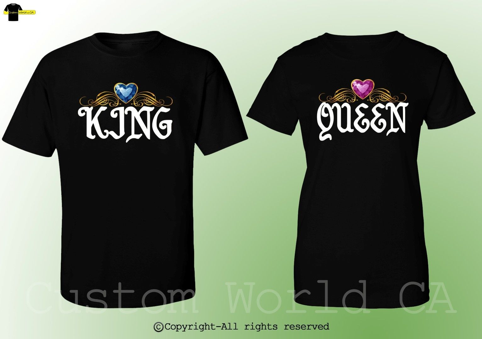 5cfd9ad3b9 King & Queen Design Fashion Couple Shirts BF GF His and Hers Match Tee  Clothes | eBay