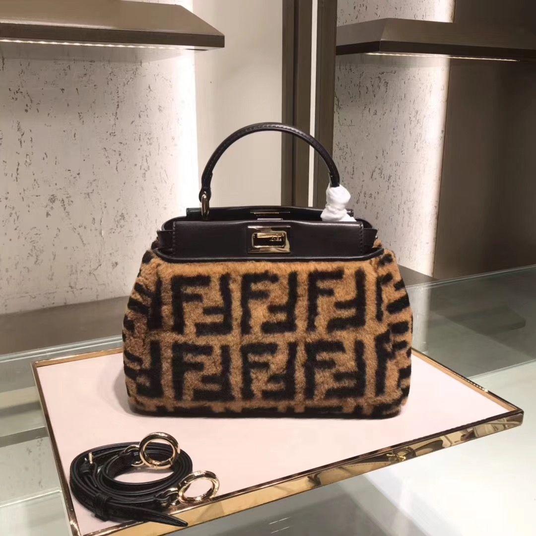 bee799ffd65b Fendi mini peekaboo woman top handle tote bag with long strap black woolen  brown original leather version