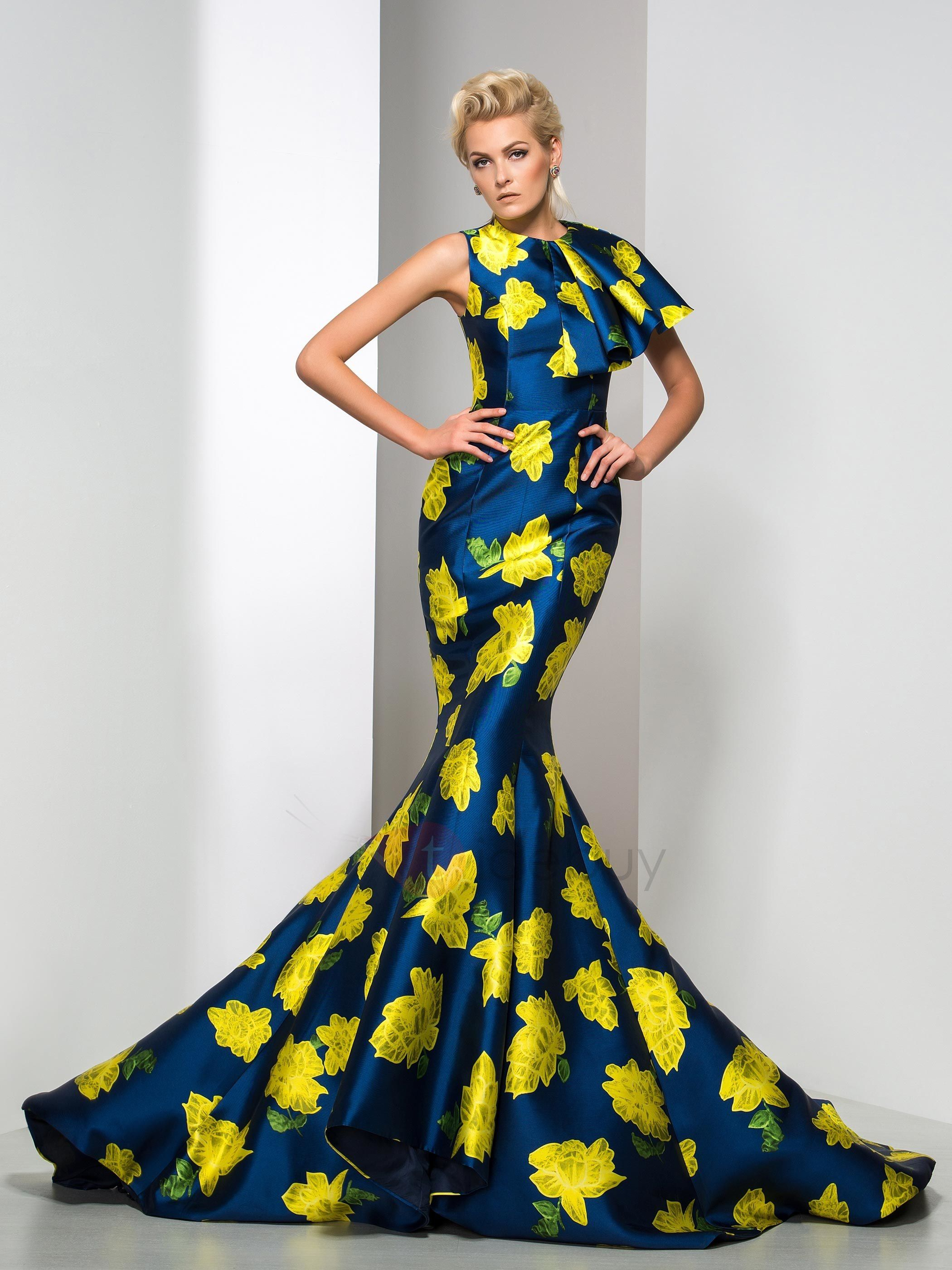 Jewel tiered mermaid floral printed evening dress in african