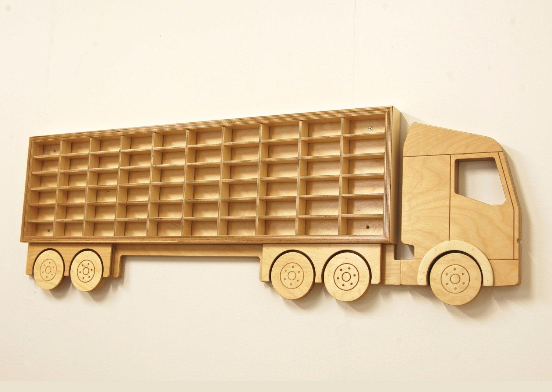 Wooden Toy Car Shelf : Toy car truck shelf model shelving unit by