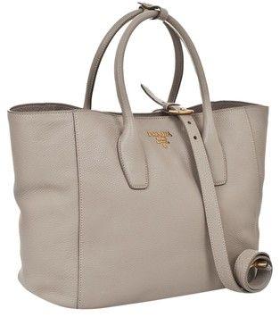 35ba0e03375b Prada Vit. Daino Grey/ Light Grey/ Pomice Leather Tote 46% off ...
