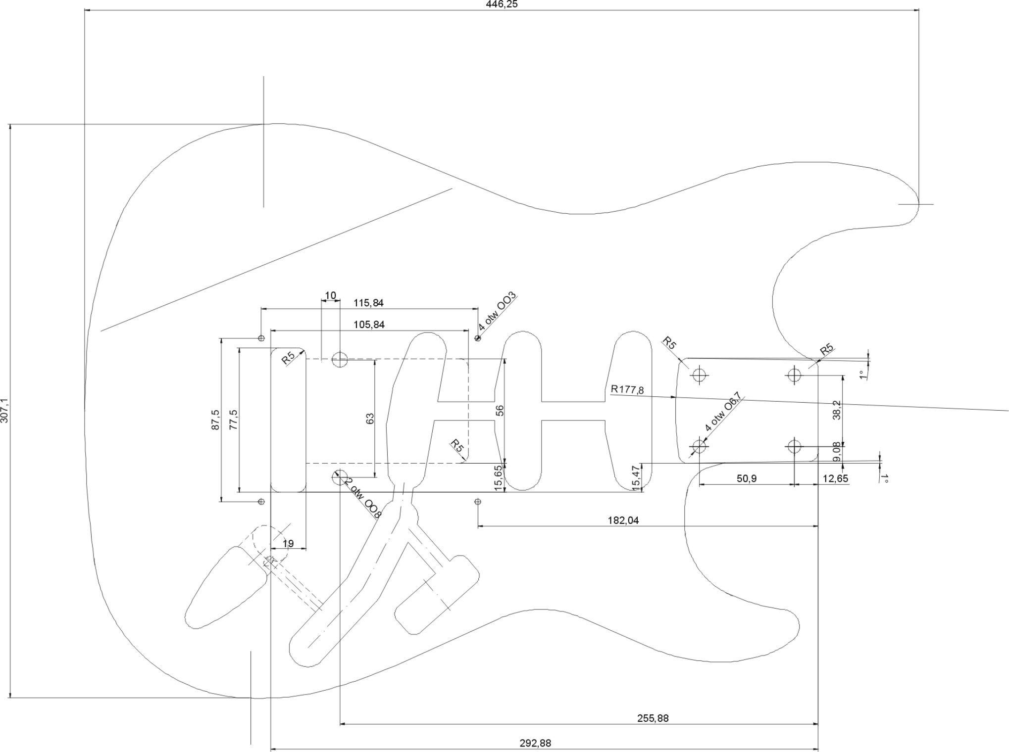 planos] ¿Cuanto mide el cuerpo de una fender stratocaster? | Guitars ...