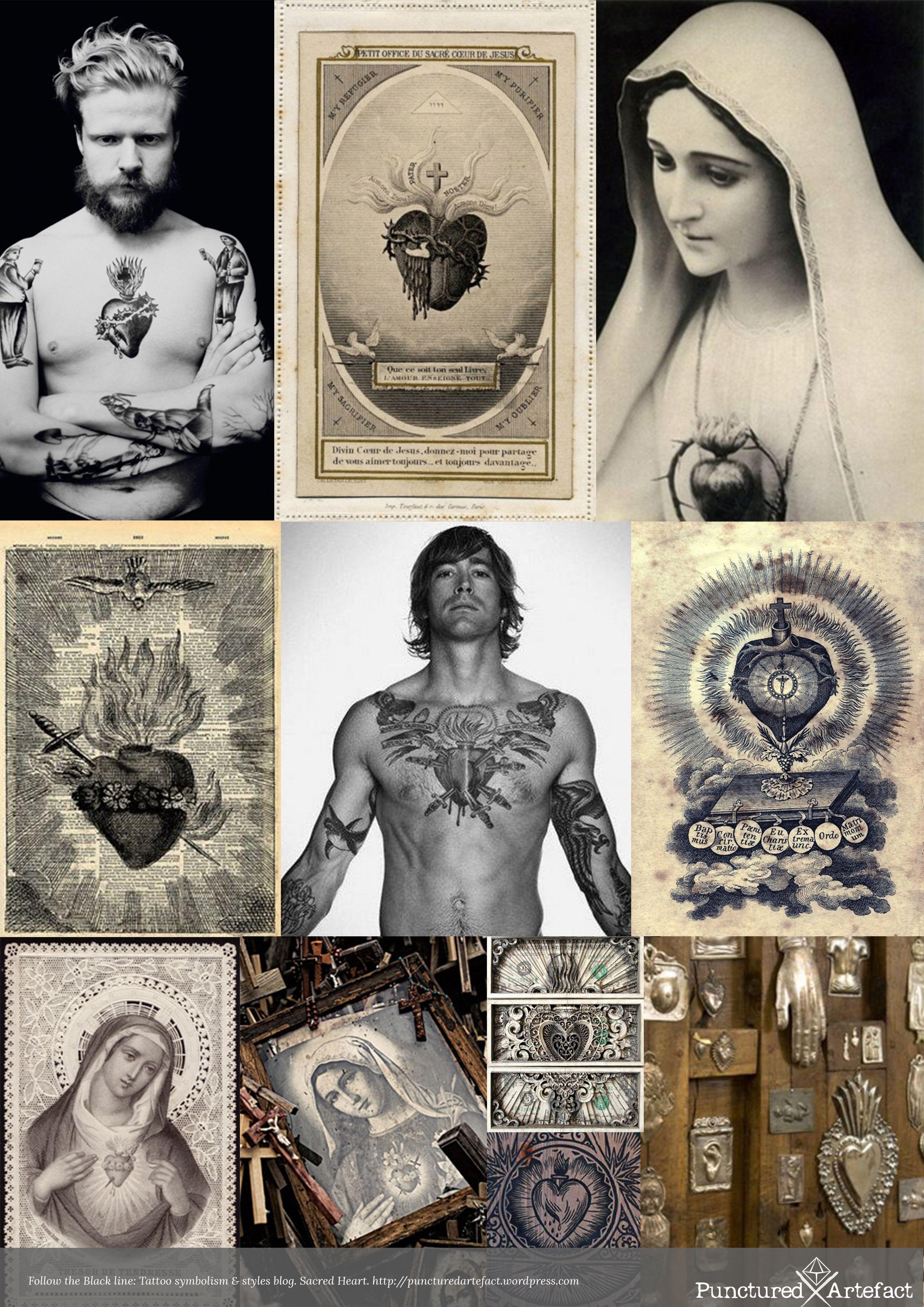 http://puncturedartefact.wordpress.com/2013/11/19/symbolism-sacred-heart-tattoo-design-art/  Blog