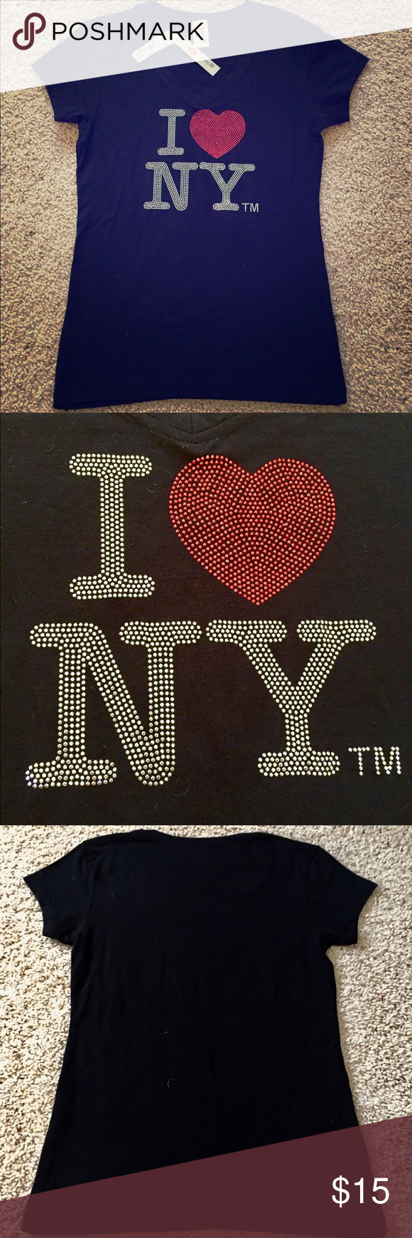 I ❤️ NY sequined t-shirt NWT I ❤️ NY black sequined t-shirt by kiss NY. Kiss NY Tops Tees - Short Sleeve